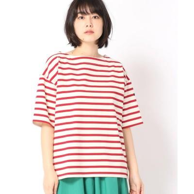 (Grand PARK/グランドパーク)デラヴェボーダー柄半袖Tシャツ/レディース 01レッド