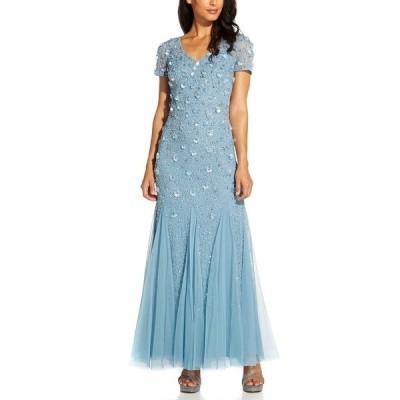 アドリアナ パペル ワンピース トップス レディース Beaded Floral Gown Air Sky Blue