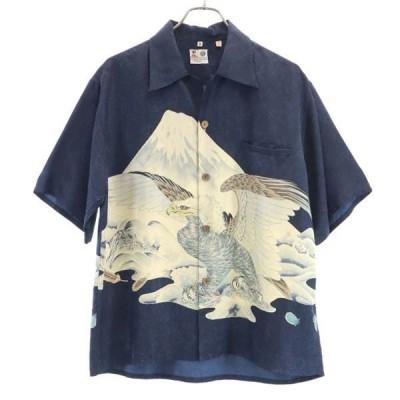 サンサーフ シルク 鷹 富士山 アロハシャツ M 紺 SUN SURF 東洋エンタープライズ 半袖 メンズ 古着 201008 メール便可
