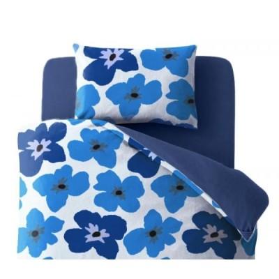 布団カバーセット ベッド用3点(枕カバー+掛け布団カバー+ボックスシーツ) シングルサイズ 色-フラワー柄ネイビー