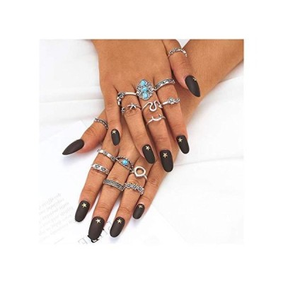 Drecode Boho Rings Set Silver Turquoise Flower Knuckle Ring Starfish Moon D