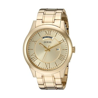 GUESS Men's U0791G2 Dressy Gold-Tone Stainless Steel Watch with Day & Date Dial and Pilot Buckle【並行輸入品】