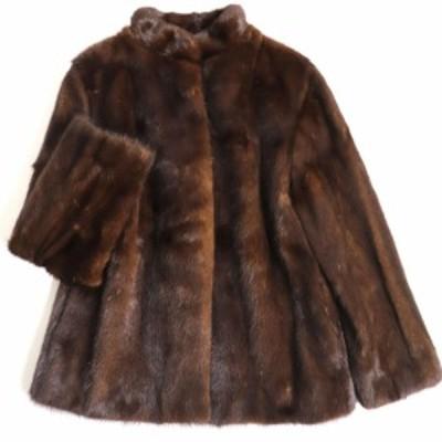 美品▼MINK ミンク 裏地刺繍入り 本毛皮コート ダークブラウン 毛質艶やか・柔らか◎