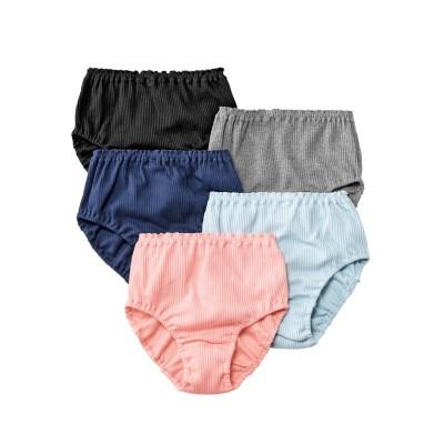 ゴムが取り替えできる・オーガニックコットン100%深ばきショーツ5枚組(6L) スタンダードショーツ, Panties
