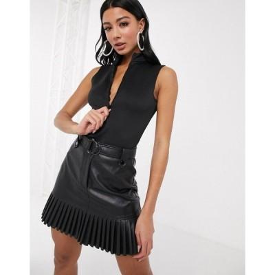 ファッションキラ レディース ワンピース トップス Fashionkilla zip detail body in black Black
