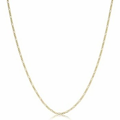 KoolJewelry 14k Yellow Gold Figaro 3+1 Link Chain Pendant Necklace For Women (1.4mm, 16 inch)