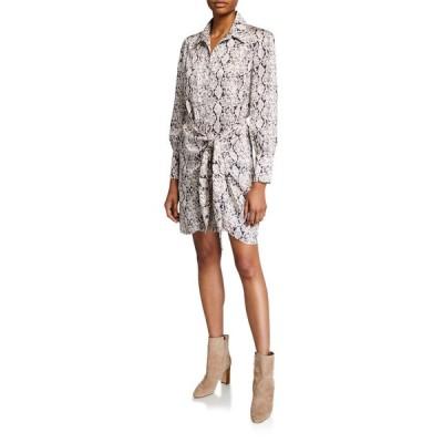 サンク ア セプト レディース ワンピース トップス Gaby Tie-Front Snake-Print Shirt Dress