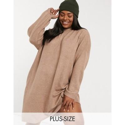 オンリーカーブ レディース ワンピース トップス Only Curve sweater dress in brown