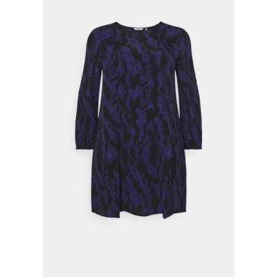 レディース ドレス DRESS SLEEK CREW NECK - Day dress - black/lilac
