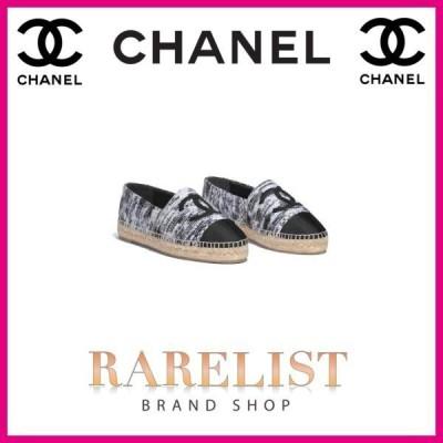シャネル CHANEL 靴 シューズ エスパドリーユ  新作 ブラック ホワイト ツイード ココマーク ステッチ