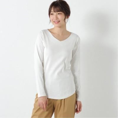 フライスVネックTシャツ オフホワイト M L LL 3L 4L
