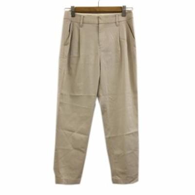 【中古】アダムエロペ for AUTHENTIC CLOTHES パンツ チノ テーパード ロング タック 36 ベージュ レディース