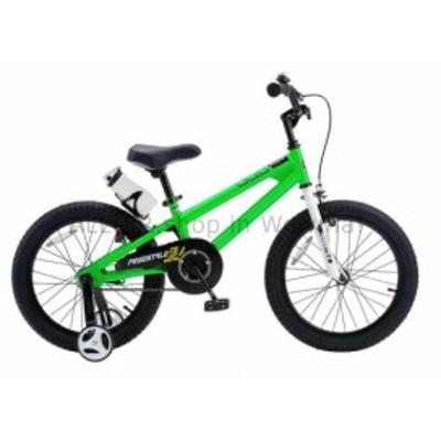 BMX Green Welded Steel 18 in。ホイールフリースタイルBMXキッズバイクトレーニングホイール付き  Gr