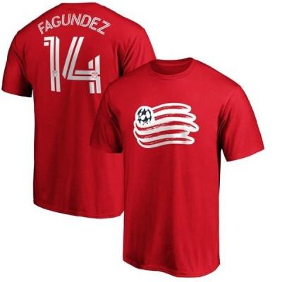 ユニセックス スポーツリーグ サッカー Diego Fagundez New England Revolution Fanatics Branded Authentic Stack Player Name & Number T-S