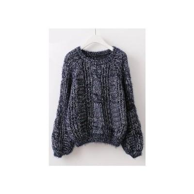 今年トレンドのバルーンスリーブデザイン セーター レディース ケーブル編み ニット 送料無料