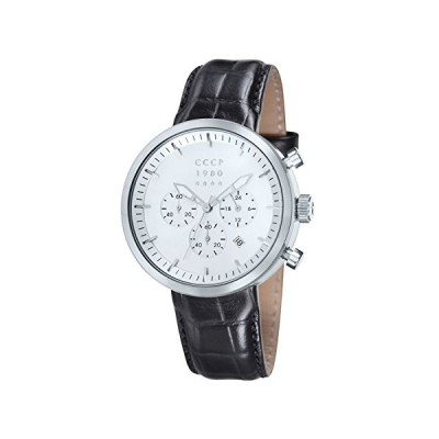 CCCP CP-7007-01 Kashalot Dress Men's Leather Watch - Silver 並行輸入品