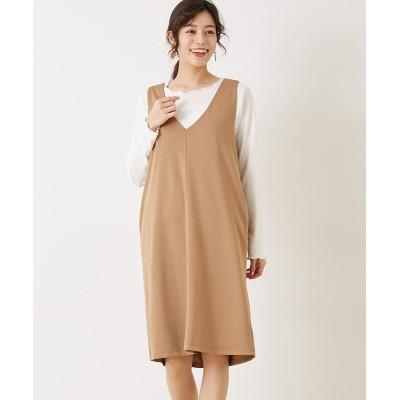 【Green Parks】SET2点 メローインナー+Vネックワンピース (ワンピース)Dress