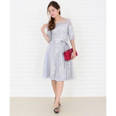 ドレス ウエストリボン付き3重レイヤード花柄シースルーワンピース・ドレス