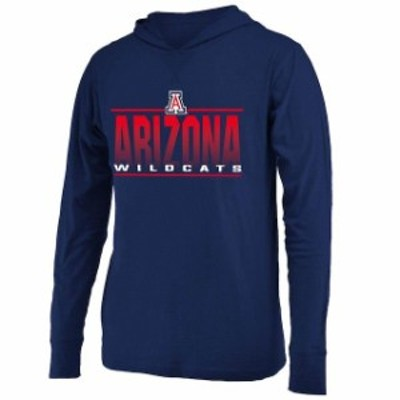 Colosseum コロセウム スポーツ用品  Colosseum Arizona Wildcats Navy Luge Lightweight Hooded Long Sleeve T-Shirt