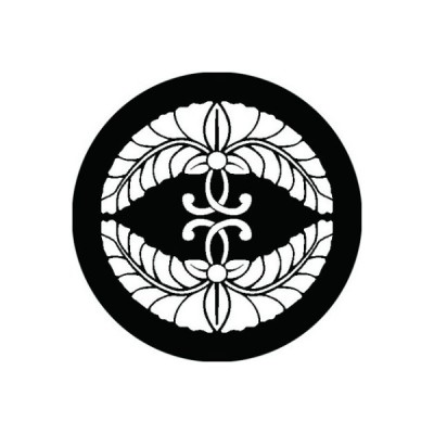 家紋シール 白紋黒地 対い二つ藤 布タイプ 直径40mm 6枚セット NS4-2155W