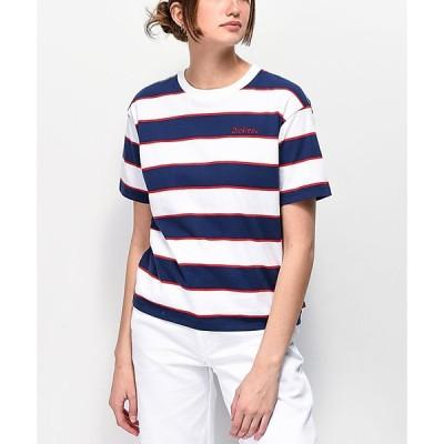 ディッキーズ DICKIES レディース Tシャツ トップス Dickies Tomboy Navy White & Red Stripe T-Shirt Navy
