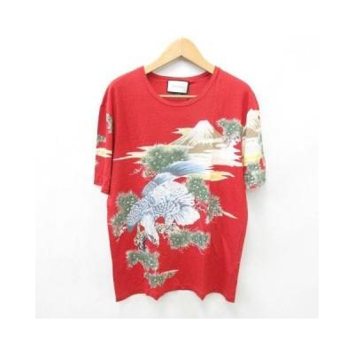 【中古】未使用品 グッチ GUCCI Tシャツ カットソー 丸首 半袖 和柄 富士 鳥 国内正規品 麻 赤 緑 青 黄 白 グリーン ブルー XXXL ☆AA★  メンズ