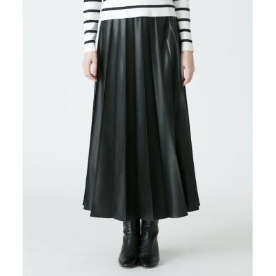 【アルアバイル/allureville】 レザーライクワイドプリーツスカート