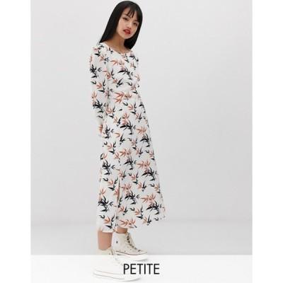 グラマラス レディース ワンピース トップス Glamorous Petite midi tea dress in palm print