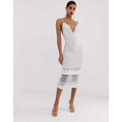 ミスガイデッド マキシドレス レディース Missguided Peace and Love maxi dress in white with embellished hem エイソス ASOS ホワイト 白