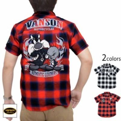 vanson×LOONEY TUNESコラボ チェック半袖シャツ vanson LTV-2010 バンソン ヴァンソン 刺繍 バイカー