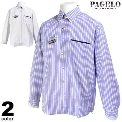 PAGELO パジェロ 長袖 カジュアルシャツ メンズ 2020春夏 ボタンダウン ストライプ柄 刺繍 03-1122-07