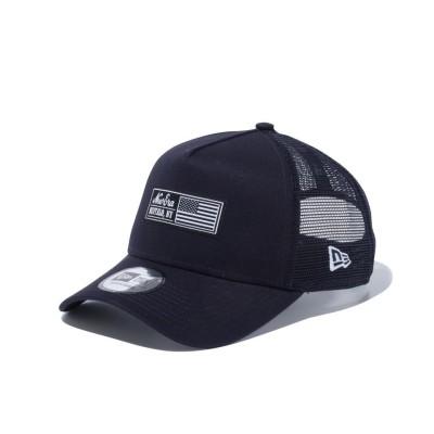NEW ERA帽子9FORTY A-Frame トラッカー ウーブンラベル BUFFALO.NY 12556439ネイビー
