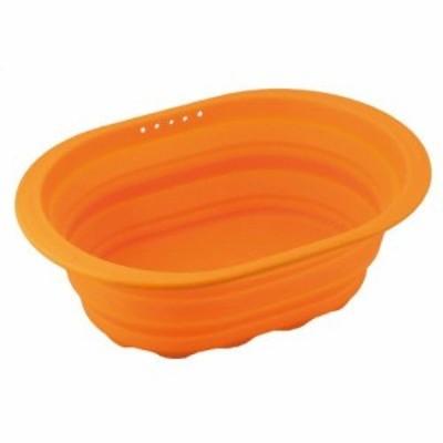和平フレイズ スキッとシリコーン 小判型洗い桶 オレンジ SR-4883