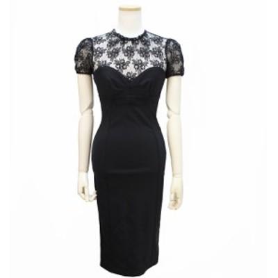 (中古)ドルチェ アンド ガッバーナ レースコルセットタイトドレス ブラック 36