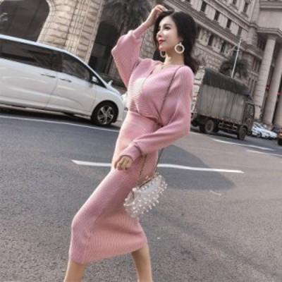 ニット セットアップ ツーピース Vネック ミドル丈 リブ タイト ハイウエスト オルチャンファッション 2020年新作 韓国 ファッション レ