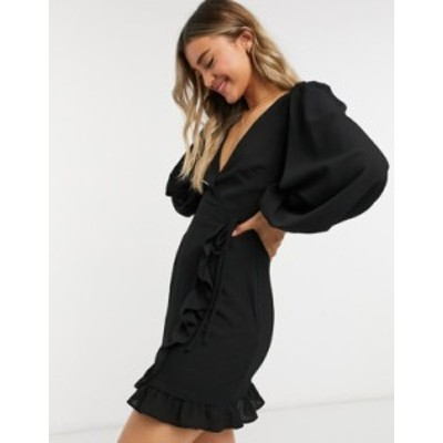 エイソス レディース ワンピース トップス ASOS DESIGN long sleeve mini wrap dress in black Black