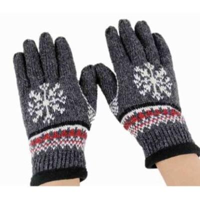 LAZA メンズ 手袋 ダークグレー ノルディック柄 紳士ニット 五本指 ウール 厚手手袋