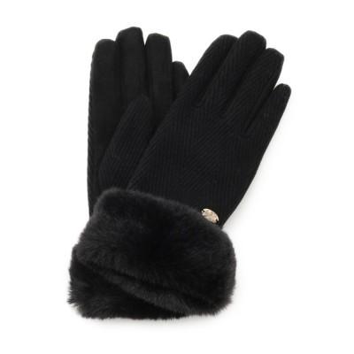 grove / ウール混ヘリンボンフェイクファーグローブ WOMEN ファッション雑貨 > 手袋