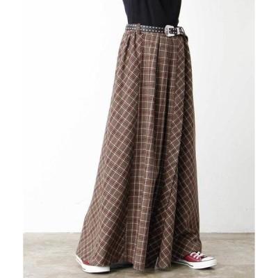 スカート デザインチェックボリュームスカート