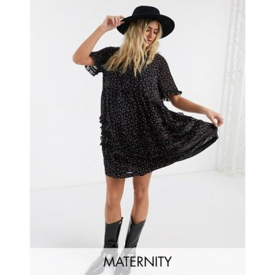トップショップ マタニティー Topshop Maternity レディース ワンピース ミニ丈 ワンピース・ドレス ditsy print mini dress in black ブラック