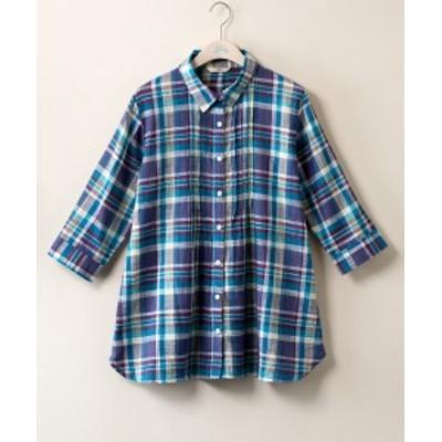 大きいサイズ レディース 綿 スラブ フロントタック シャツ bi abbey オフホワイト系チェック/スカイブルー系チェック LL/3L ニッセン