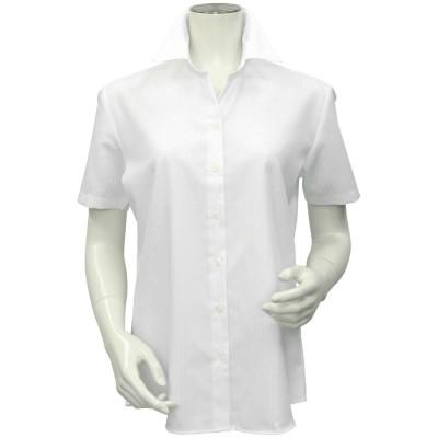 トーキョーシャツ TOKYO SHIRTS 形態安定ノーアイロン スキッパー衿 半袖ビジネスワイシャツ (ホワイト)