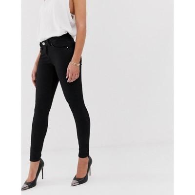 エイソス レディース デニムパンツ ボトムス ASOS DESIGN Lisbon mid rise skinny jeans in clean black in ankle grazer length