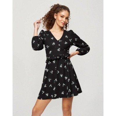 ミスセルフフリッジ レディース ワンピース トップス Miss Selfridge fit and flare dress in black floral