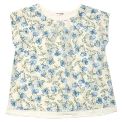 レディース ウィメンズ カジュアル フレンチスリーブ チュールレースプルオーバー ラウンドネック 白×ブルー系花柄