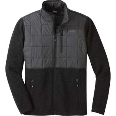 アウトドアリサーチ メンズ ジャケット・ブルゾン アウター Outdoor Research Men's Vashon Hybrid Full Zip Top Black Heather
