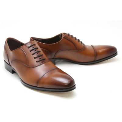 ビジネスシューズ 本革 ストレートチップ キャップトゥ メンズ 革靴 本革 クインクラシコ ドレスシューズ qc310br ブラウン(茶色) キャップトゥ