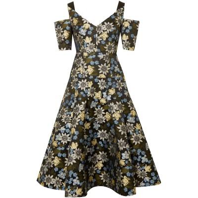 アーデム ERDEM 7分丈ワンピース・ドレス ブラック 10 ポリエステル 100% 7分丈ワンピース・ドレス