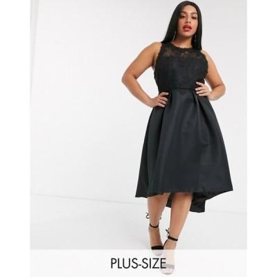 チチロンドン レディース ワンピース トップス Chi Chi London Plus high low satin dress in black