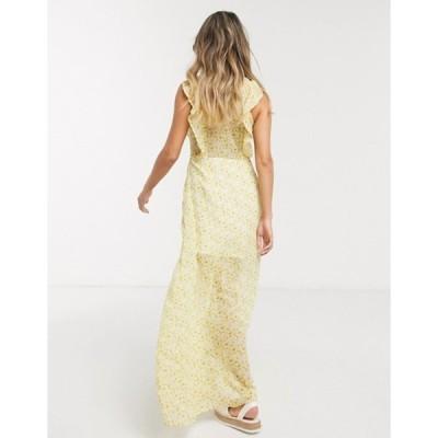 ジリ レディース ワンピース トップス Gilli button down maxi dress with ruffle detail in yellow floral